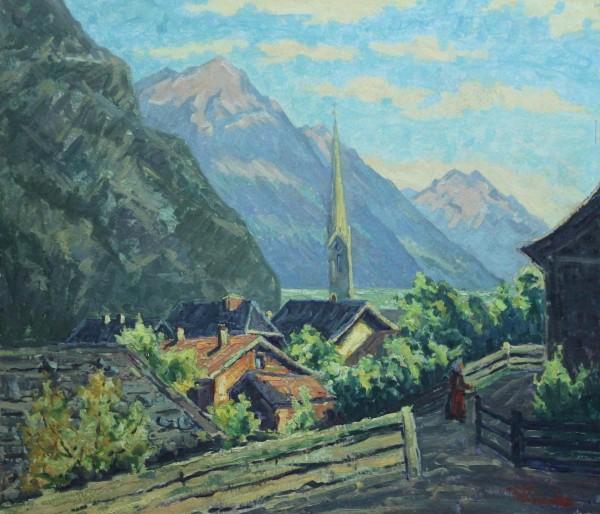 Ölgemälde BERGLANDSCHAFT von Wilhelm Reinecke (1889 - 1944)