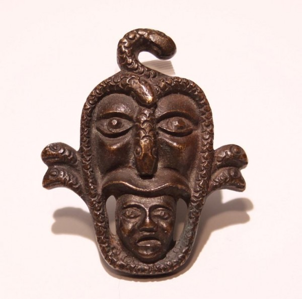 Casted Bronze Snake Mask Brooch