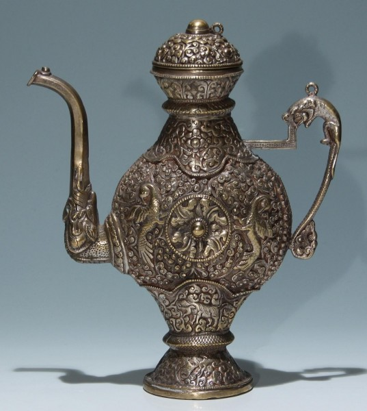 Silvered Casted Bronze Ewer - Tibet 19th C.