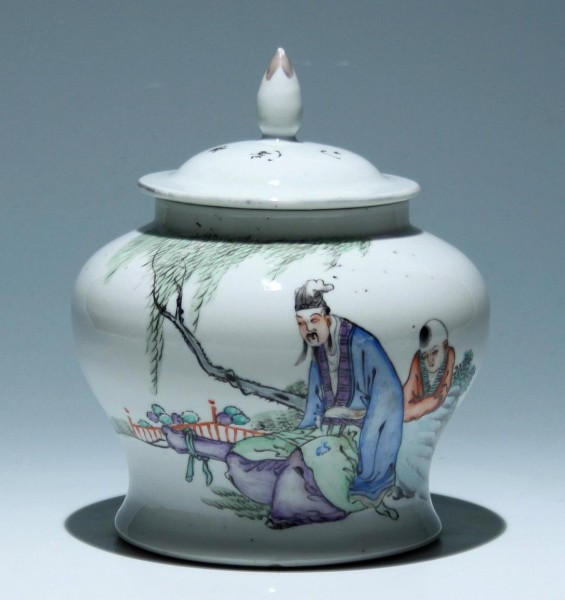 Handpainted Chinese Covered Jar - circa 1900