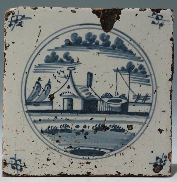 Fliese mit Blaumalerei - Tegel Niederlande 19. Jh.