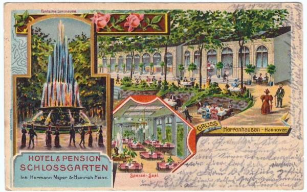 AK - Hannover HOTEL SCHLOSSGARTEN - gelaufen 1902