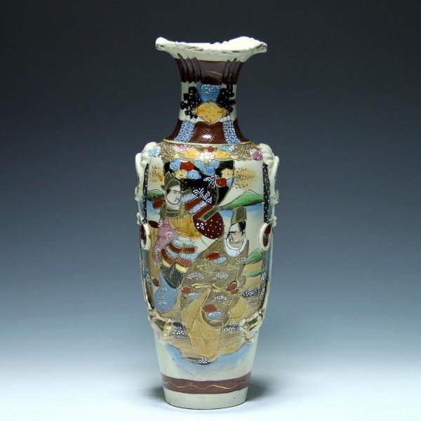Handbemalte Keramikvase SATSUMA Japan Mitte 20. Jh. - 37 cm