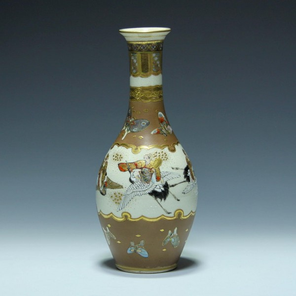 Handbemalte Keramikvase SATSUMA Japan 1. H. 20. Jh. - 25,3 cm