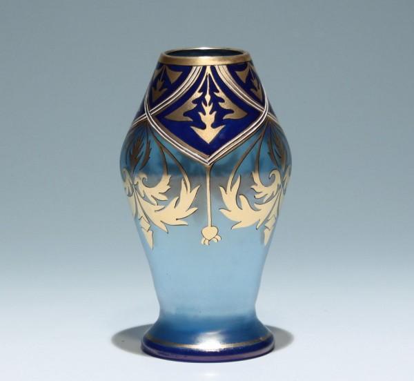 Fritz Heckert Vase AZURCYPERN - Dekorentwurf Adolf Heyden 1900