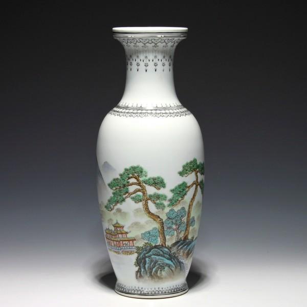Famille Rose Vase Zhongguo Jingdezhen Zhi circa 1970's - 31,3 cm