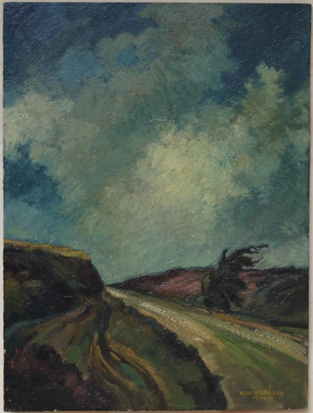 Ölgemälde WEG BEI OEDEME von Hermann Schröder (1897-1972)