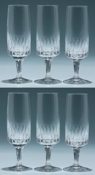 6 Sektgläser Kristallglashütte Gistl in Frauenau 1960er Jahre