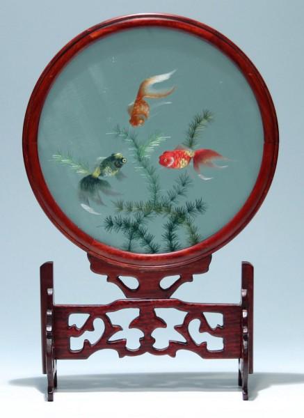 Seidenschirm, Stellschirm mit Fischmotiv - China 20. Jh.
