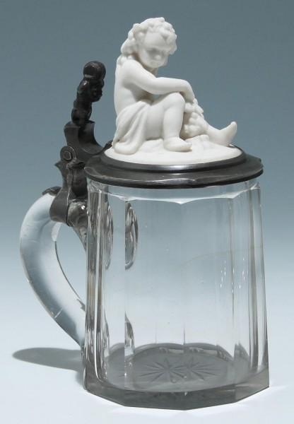 Mundgeblasener Bierkrug GAMBRINUS um 1900