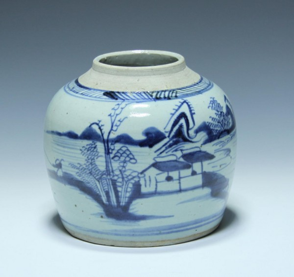 Handpainted Chinese Blue & White Ginger Jar - 19th. C. - No Lid