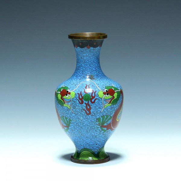 Chinesische Cloisonné Vase mit Drachen- 16,2 cm