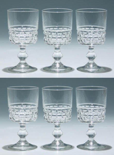 6 Cristal d`Arques / Luminarc Kelchgläser QUADRILLE 12,9 cm
