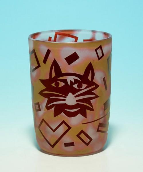 Sandgestrahlte Studioglasvase mit Katzenmotiv signiert CH 7/97