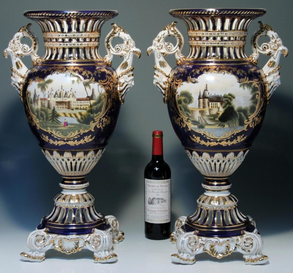 Pair of Large Gilded Cobalt Sevres Style Vases - 62,3 cm