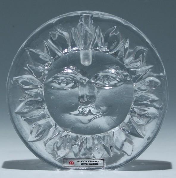 Blockkristall Zweigvase Ingridhütte mit Sonnenmotiv