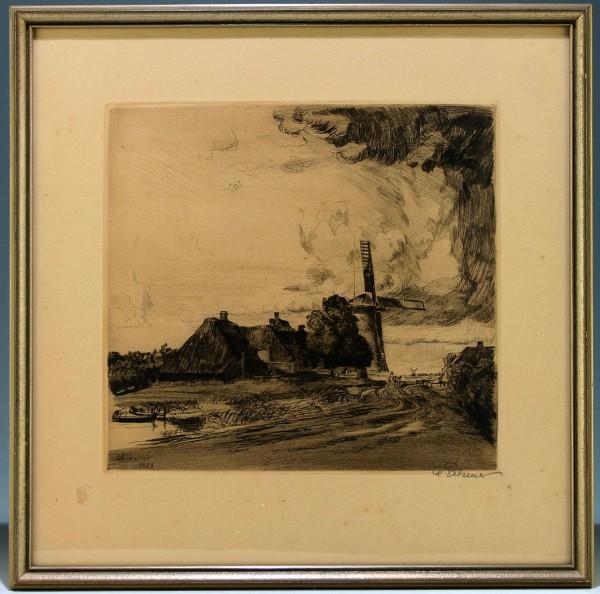 Alexander Eckener - Radierung MÜHLE IN NORDFRIESLAND 1921