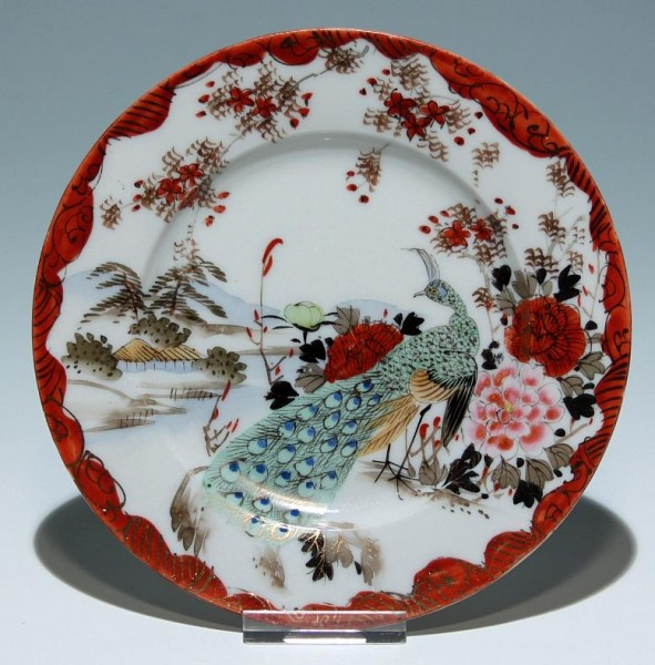 Japanese Kutani Plate with Peacock Ø 15,2 cm