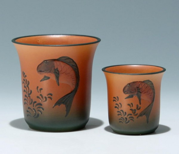 A Pair of Handpainted P. Ipsen Terracotta Vases circa 1925