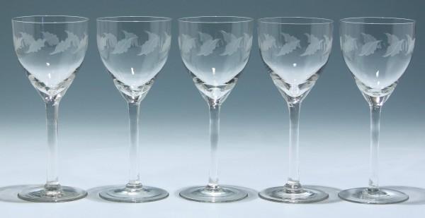5 Jugendstil Weingläser mit Blatt- und Olivenschliff