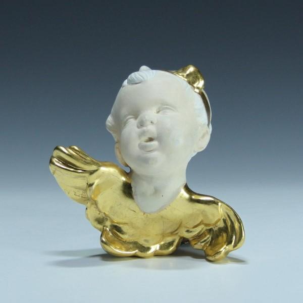 Kleiner Stuck-Engel mit Blattvergoldung - 15 x 15 cm