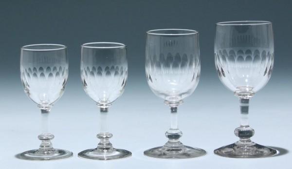 4 Kelchgläser Frankreich circa 1900 - Höhe 10,2 -12 cm