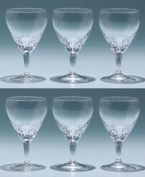 6 Josephinenhütte Weißweingläser DORETTE 1950er Jahre