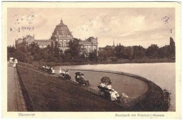 AK - Hannover MASCHPARK, PROVINZIAL-MUSEUM - gelaufen 1912