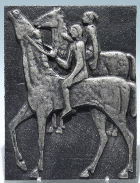Olsberg Eisenguss Kunstgussplatte REITERPAAR 1960er Jahre