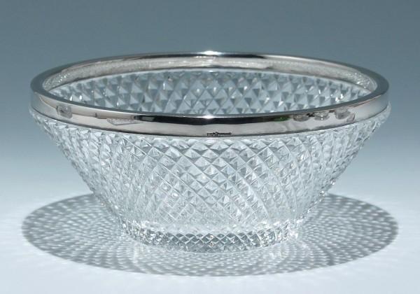 Handgeschliffene Bleikristallschale mit STERLING Silberrand