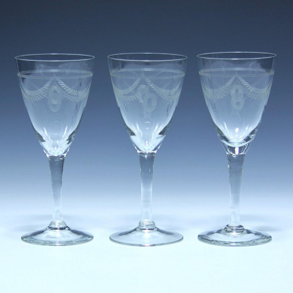 3 Weingläser HEINZ - Vereinigte Lausitzer Glaswerke circa 1930 - 16 cm