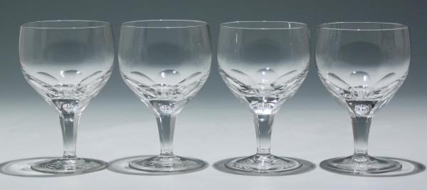 4 Weingläser mit großer Luftblase - 1950/60er J.