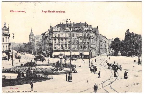 Ansichtskarte HANNOVER AEGIDIENTHORPLATZ - gelaufen 1906 #ak0043