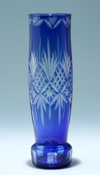 Hohe blaue Art Deco Überfangglasvase Böhmen 1920er Jahre