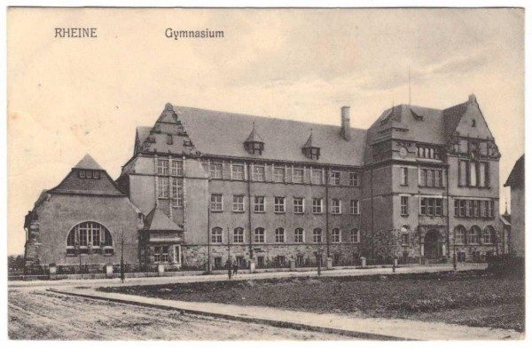 Ansichtskarte RHEINE GYMNASIUM - gelaufen 1911 #ak0058