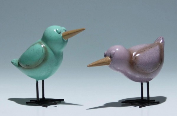 2 Vögel aus lackiertem Metall