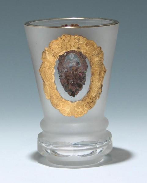 Becherglas mit Gold- und Silberbemalung - Bayrischer Wald 1960er Jahre