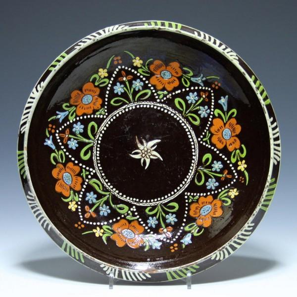 Thuner / Thoune EDELWEIß Keramikteller - Schweiz Ende 19. Jh.