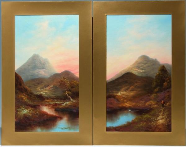 Pair of Scottish Loch Scene Highland Paintings - circa 1900