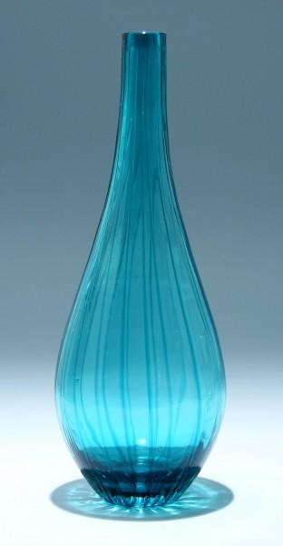 Hohe Überfangglasvase mit Fadendekor - 39,5 cm