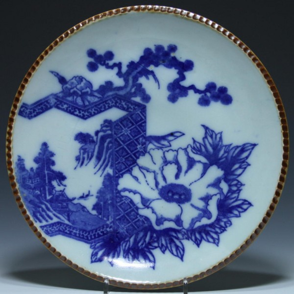 Japanese Blue and White Brown Pie Crust Plate - Ø 28,8 cm