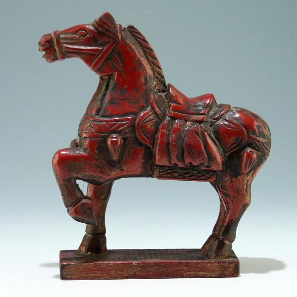 Asian Carved and Red Lacquered Horse