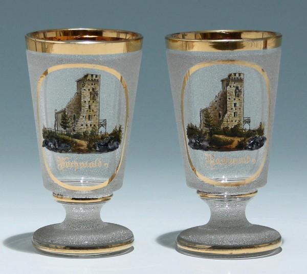 Paar Becher mit Ansicht HOCHWALD (Hukvaldy) um 1900