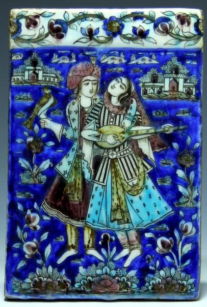 Qajar Molded Pottery Tile COUPLE WITH FALCON & TAR - 19th Century