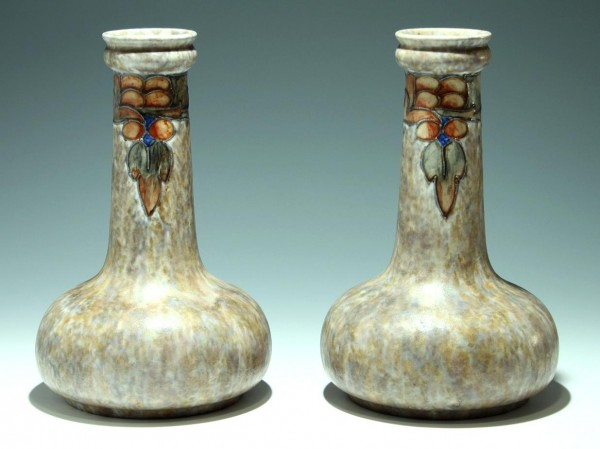 A Pair of Cranston Pottery Art Deco Vases made by the Pearl Pottery