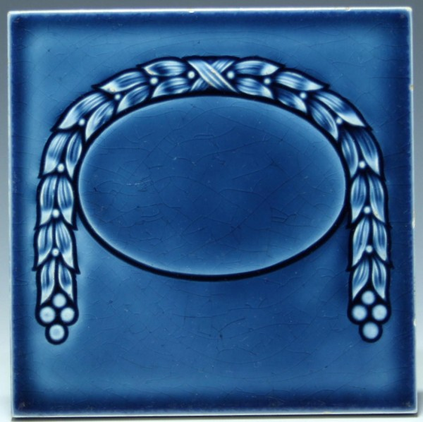 Jugendstil Wandfliese mit Girlande 15,2 x 15,2 cm #1