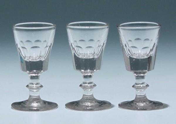 3 Kelchgläser - Frankreich 19. Jh. - 8,3 cm