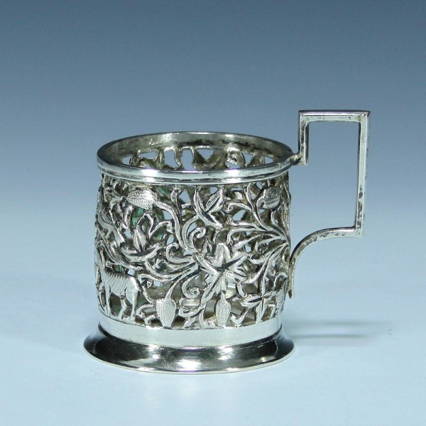 Islamic Solid Silver Teaglassholder - Iran 20th. C. (not proofed)