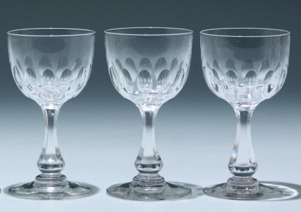 3 Bleikristall Kelchgläser Frankreich circa 1900 - Höhe 13,1 cm