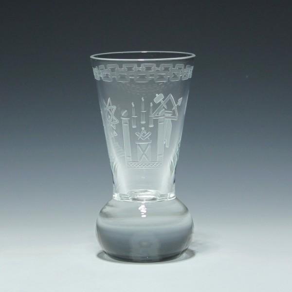 Theresienthal Freimaurerglas mit gravierten Symbolen - 1980er Jahre